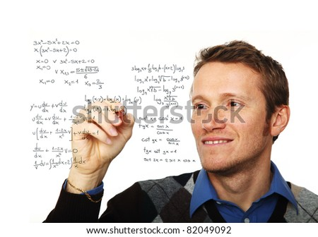 portrait of young man writing on glass board isolated on white