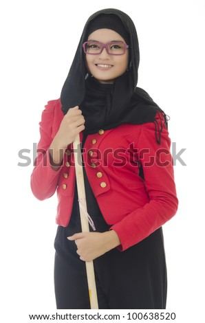 Portrait of Young Muslim woman hold the wooden broom over on white background. - stock photo
