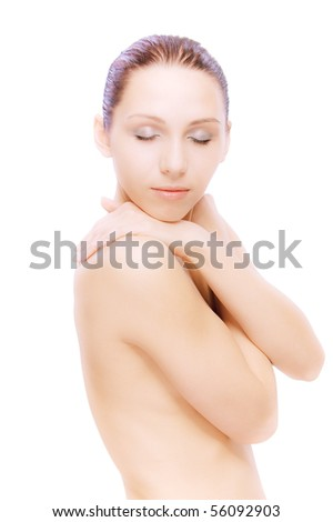 Portrait of young nude woman blindly, on white background.