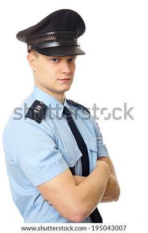 Portrait of young policemen standing in uniform, right you can write some text