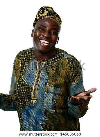 Portrait of young positive african male, isolated on white background - stock photo