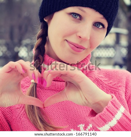 Portrait of young pretty girl in cold weather  - stock photo