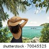 Portrait of young pretty woman in summer environment - stock photo