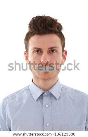 Portrait of young red hair man censored - stock photo