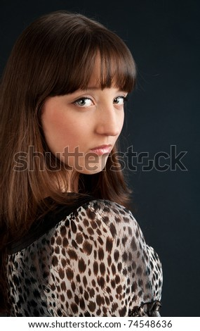 portrait of young sad beautiful woman - stock photo