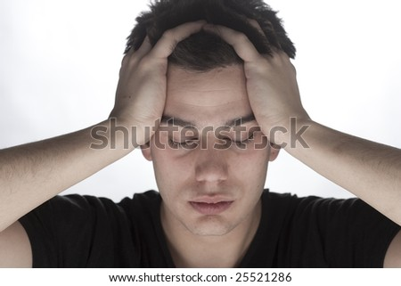 portrait of young sad male - stock photo