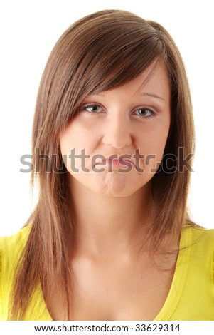 Portrait of young sad woman isolated on white background