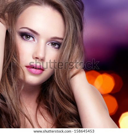 Portrait of young sensuality woman with beautiful pretty face with long hair - isolated on white