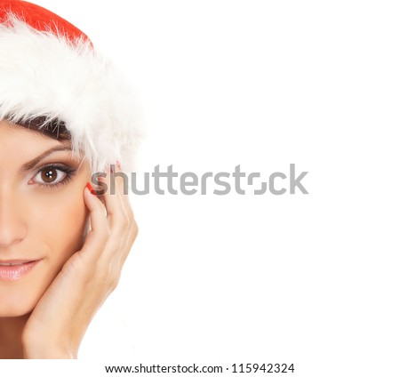 Portrait of young, sexy female Santa isolated on white - stock photo