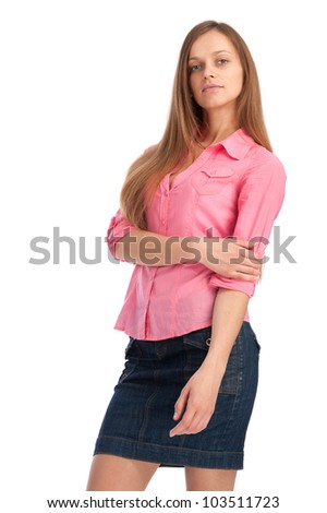 Portrait of young sexy woman on white background