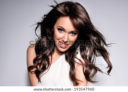 Portrait of young sexy woman on white background  - stock photo