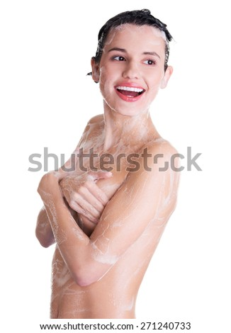 Portrait of young sexy woman with soap foam.