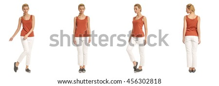 Portrait of young slim woman in white pants posing isolated on white background