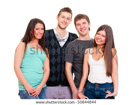 portrait of young smiley people. isolated on white background