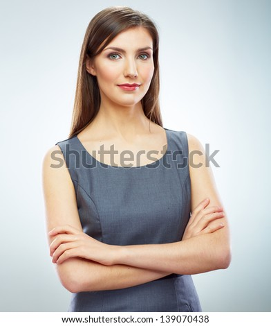 Portrait of young smiling business woman . Female model corporate business dressed. - stock photo
