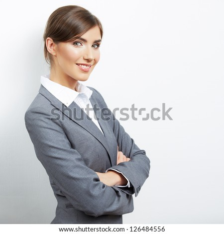 Portrait of young  smiling  business woman, isolated on white background