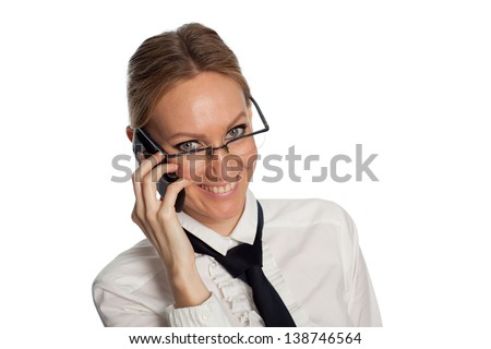 Portrait of young smiling businesswoman with a phone