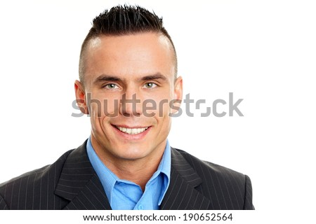 Portrait of young smiling man in suit, right you can write some text
