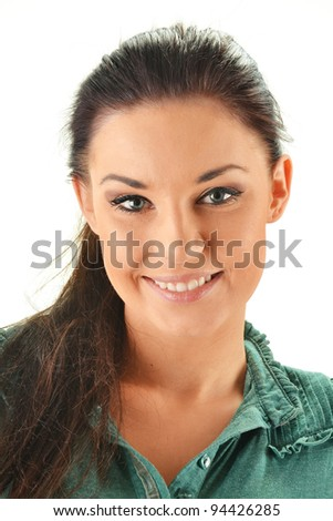 Portrait of young smiling woman isolated on white - stock photo