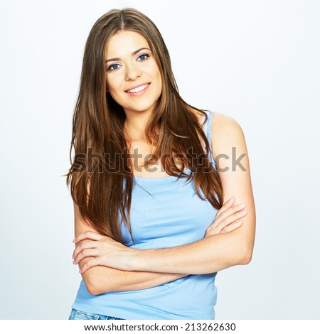 portrait of young smiling woman isolated over white background .