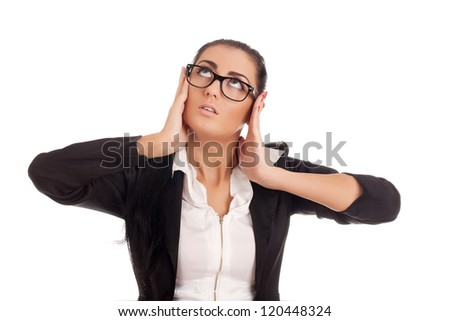 Portrait of young stressed business woman - stock photo