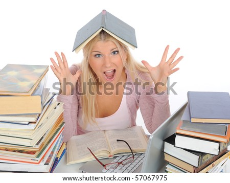 portrait of young  student girl with lots of books in panic. isolated on white background - stock photo