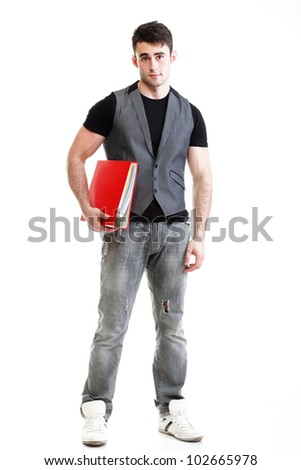 Portrait of young, successful, happy male student. Isolated on white background. - stock photo
