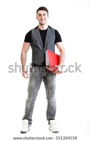 Portrait of young successful, happy male student. Isolated on white background.