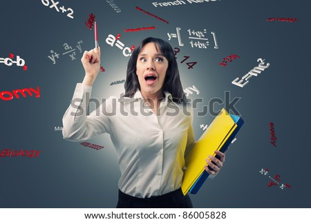 portrait of young teacher and 3d background - stock photo