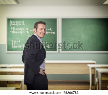 portrait of young teacher at school