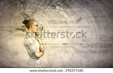 Portrait of young thoughtful woman in grunge style - stock photo