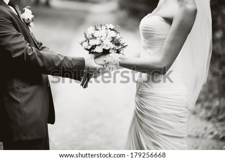 portrait of  young wedding couple - stock photo