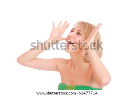 Portrait of young woman gesturing, isolated on white