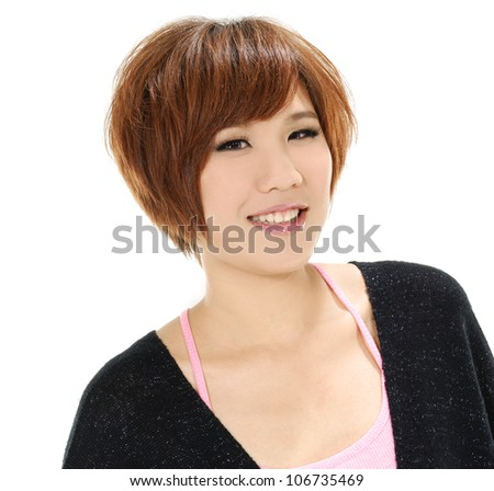 Portrait of young woman giving you a sweet smile against white background