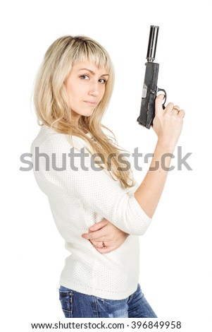 portrait of young woman holding a Gun with One Hand.  isolated on white background. police, crime and lifestyle concept  - stock photo