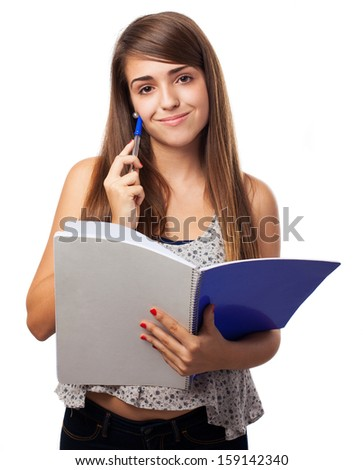 portrait of young woman holding a notebook isolated on white - stock photo