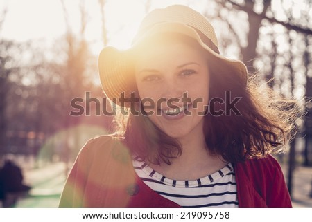 Portrait of Young Woman in Paris - stock photo