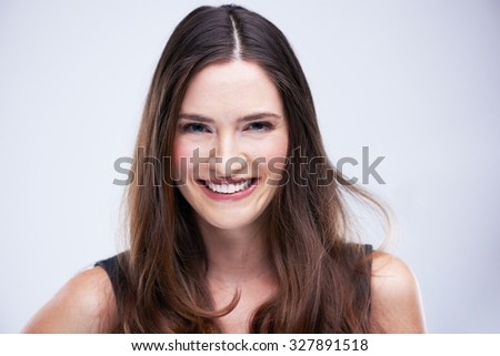 portrait of young woman isolated on white background  in studio - stock photo