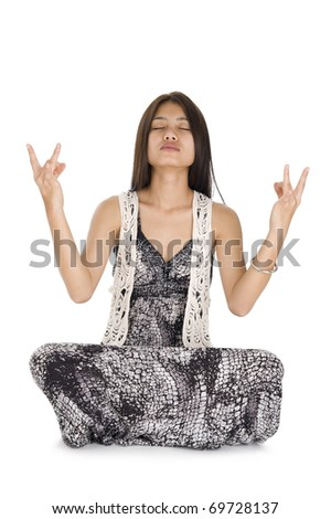 portrait of young woman meditating, isolated on white background - stock photo