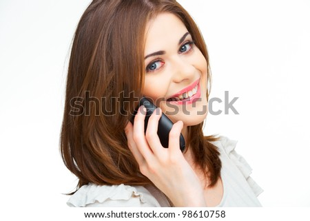 Portrait of young woman on phone call over white background isolated