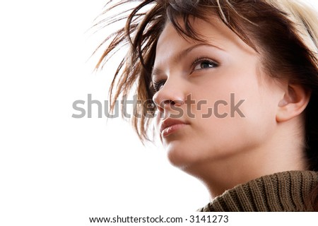 Portrait of young woman on white background - stock photo