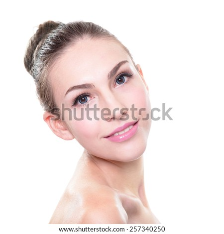 Portrait of young woman smile face with health skin, great for Skin care or spa concept, isolated on white background. caucasian - stock photo
