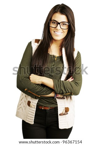 portrait of young woman standing isolated over white background - stock photo