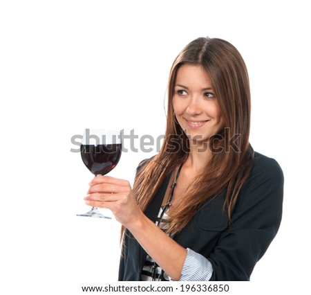 Portrait of young woman tasting sampling red wine alcohol drink isolated on a white background - stock photo