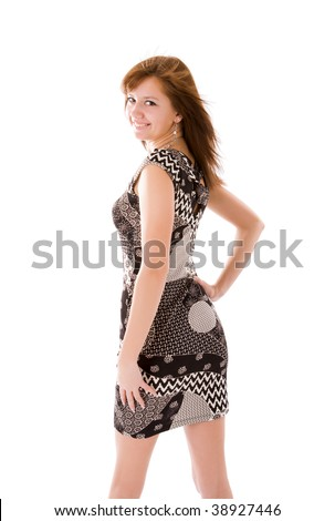 Portrait of Young woman turning back isolated on white