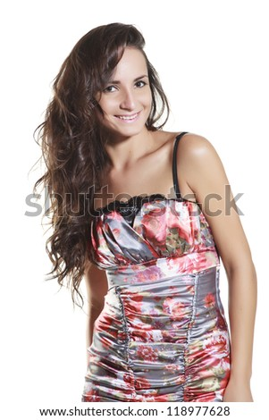 Portrait of young woman vintage style on white background - stock photo