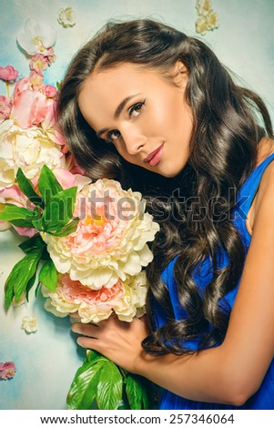Portrait of young woman with beautiful long hair. Beauty, fashion. Hair, haircare. - stock photo