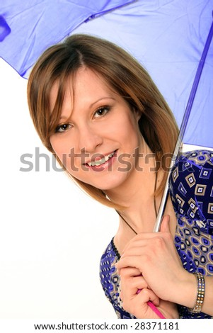 ... woman with blue umbrella. Isolated on white background. - stock photo