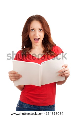 Portrait of young woman with magazine - stock photo