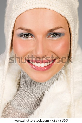 portrait of young woman with perfect teeth - stock photo